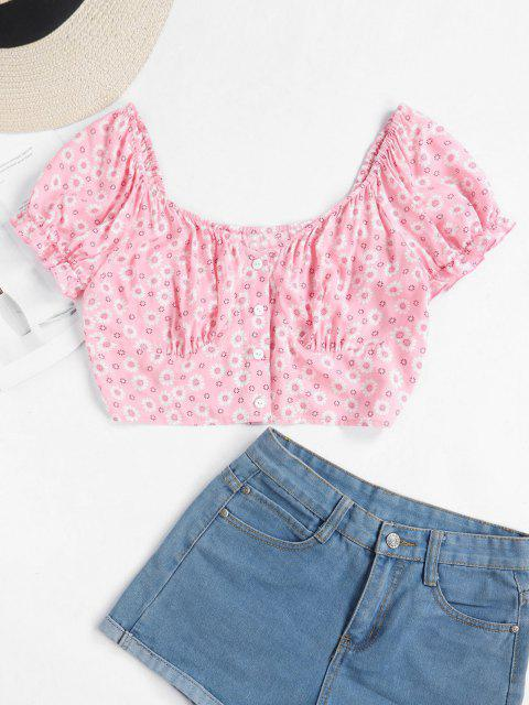 latest ZAFUL Tiny Floral Crop Milkmaid Blouse - LIGHT PINK XL Mobile