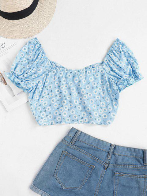 affordable ZAFUL Tiny Floral Crop Milkmaid Blouse - LIGHT BLUE M Mobile