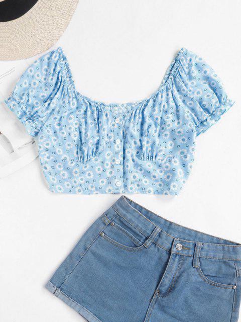 shops ZAFUL Tiny Floral Crop Milkmaid Blouse - LIGHT BLUE L Mobile
