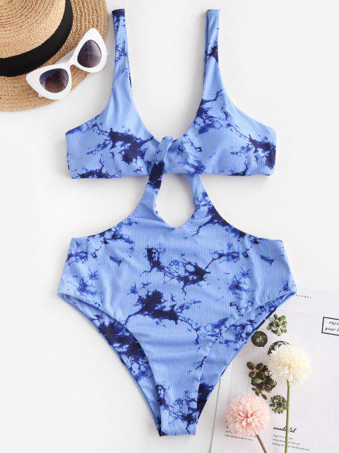 new ZAFUL Tie Dye Ribbed Cutout Trikini Swimsuit - BLUE M Mobile
