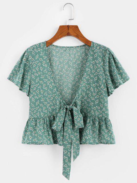 shops ZAFUL Flower Butterfly Sleeve Plunging Peplum Blouse - CLOVER GREEN M Mobile