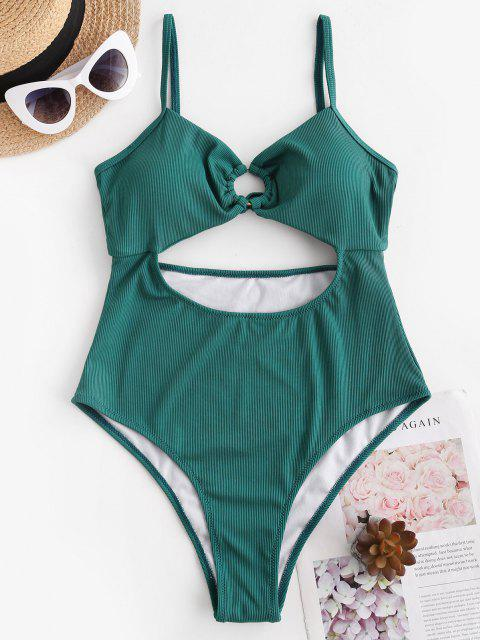 ZAFUL Ribbed Cutout High Cut Tie One-piece Swimsuit - ديب غرين L Mobile