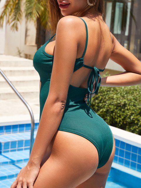 ZAFUL Bañador en Una Pieza de Halter de Tie-dye con Nudo de Lazo - Verde Oscuro XL Mobile