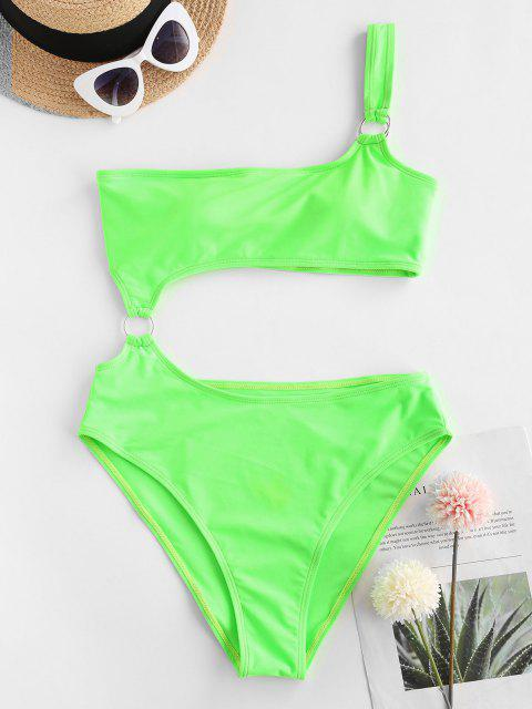 chic ZAFUL One Shoulder Neon Ring Cutout One-piece Swimsuit - GREEN L Mobile