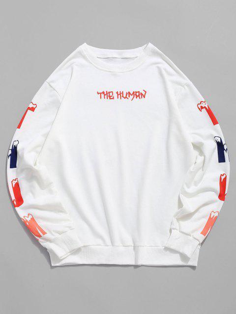 lady Letter Print Rib-knit Trim Sweatshirt - WHITE XL Mobile
