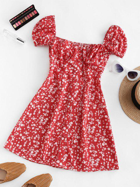 hot Ditsy Print Puff Sleeve Milkmaid Dress - RED S Mobile