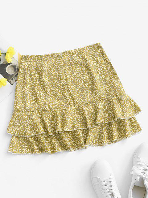 buy Ditsy Print Layered Ruffle Skirt - YELLOW S Mobile
