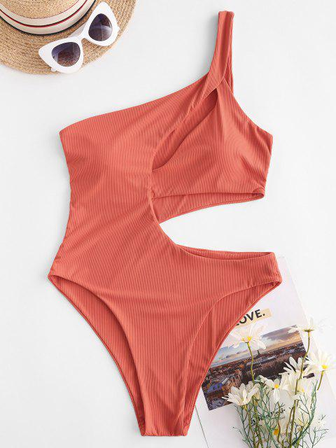 ZAFUL Cutout One Shoulder Ribbed One-piece Swimsuit - البرتقالي S Mobile