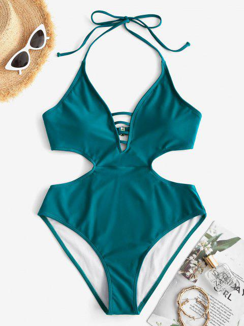 latest ZAFUL Halter Ladder Cut Trikini Swimsuit - DEEP GREEN S Mobile