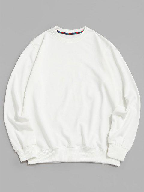 online Hanzi Graphic Print Rib-knit Trim Sweatshirt - WHITE XS Mobile