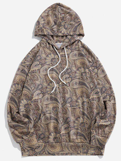 ZAFUL Paisley Printed Casual Hoodie - دب بنى 2XL Mobile