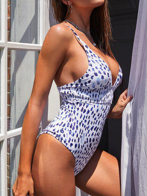 fashion ZAFUL Leopard Crisscross Backless Smocked One-piece Swimsuit - WHITE S Mobile