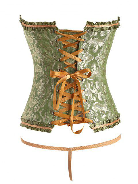 outfits Jacquard Frilled Boning Overbust Corset with G-string - GREEN L Mobile