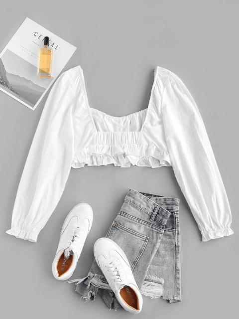 buy Frilled Trim Button Up Milkmaid Blouse - MILK WHITE L Mobile