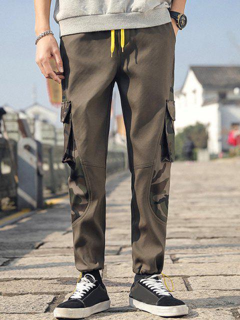 Tarnung Buchstabe Druck Manschette Cargo Hose - Armeegrün XS Mobile