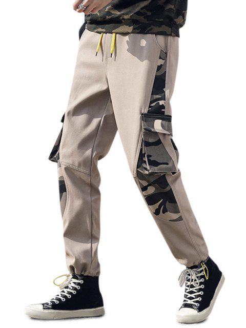 lady Camouflage Letter Print Toggle Cuff Cargo Pants - KHAKI M Mobile