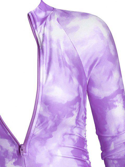 Mono Femenino de Ciclista de Tie Dye con Cremallera - Púrpura L Mobile