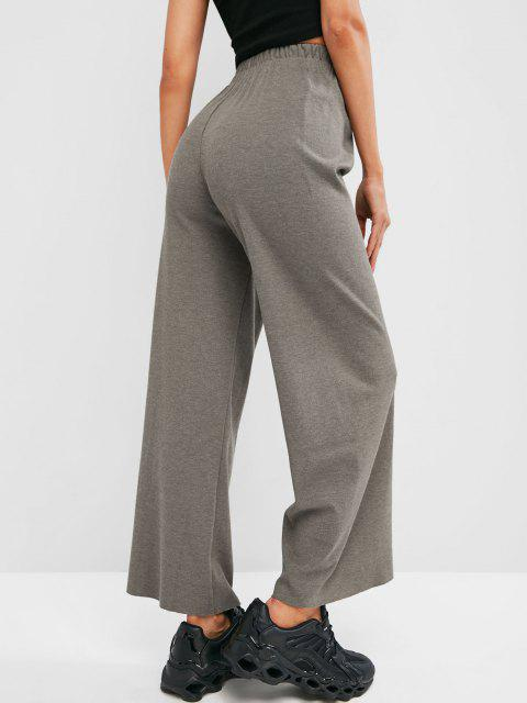 unique Raw Hem Jersey Wide Leg Pants - LIGHT GRAY ONE SIZE Mobile