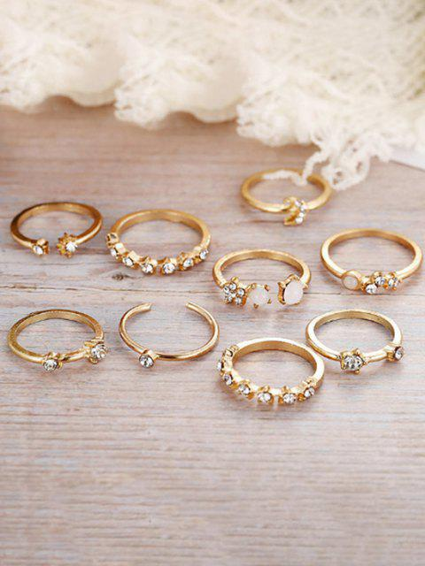 trendy 9Pcs Stars Moon Rhinestone Rings Set - GOLDEN  Mobile