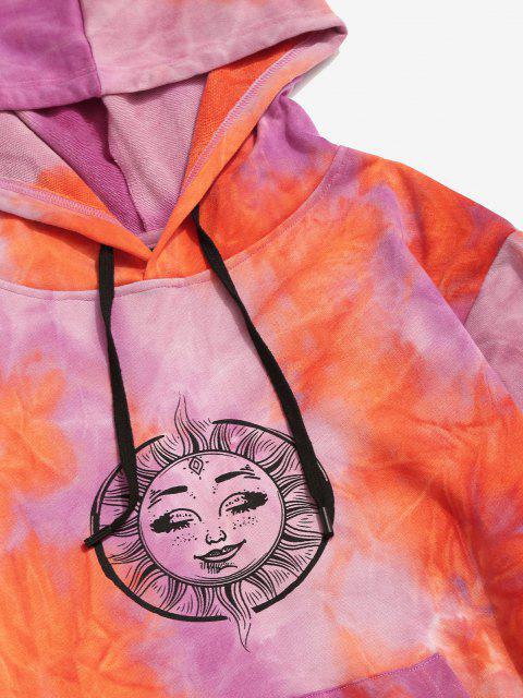 womens Tie Dye Sun Moon Print Kangaroo Pocket Hoodie - ORANGE 2XL Mobile