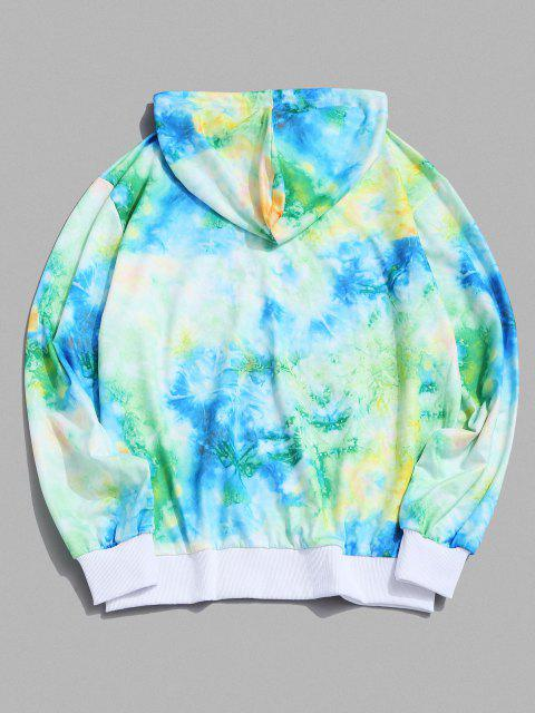 best ET Pattern Graphic Tie-dye Print Hoodie - GREEN M Mobile