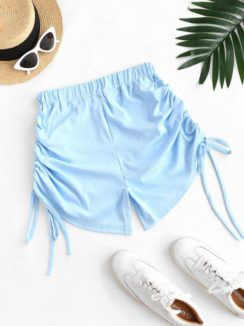 outfits Cinched Tie Ruched Pull-on Shorts - LIGHT BLUE L Mobile
