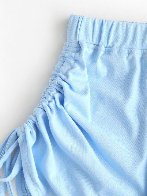 outfit Cinched Tie Ruched Pull-on Shorts - LIGHT BLUE XL Mobile