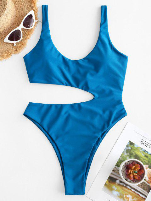 online ZAFUL Scoop Cutout High Leg One-piece Swimsuit - BLUE S Mobile