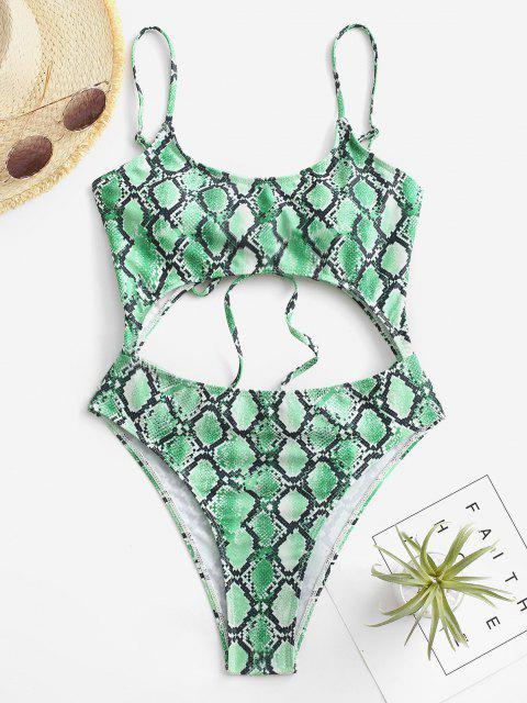 Costume Intero Stampato in Pelle di Serpente con Lacci di ZAFUL - Verde M Mobile