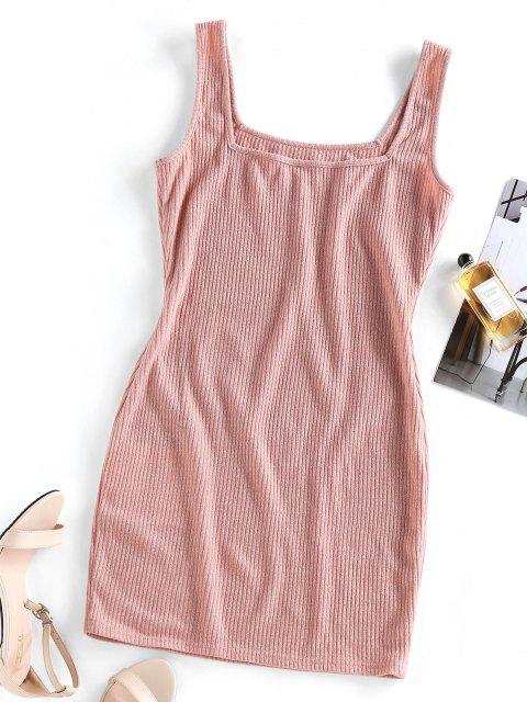 buy ZAFUL Ribbed Bodycon Tank Dress - KHAKI ROSE M Mobile
