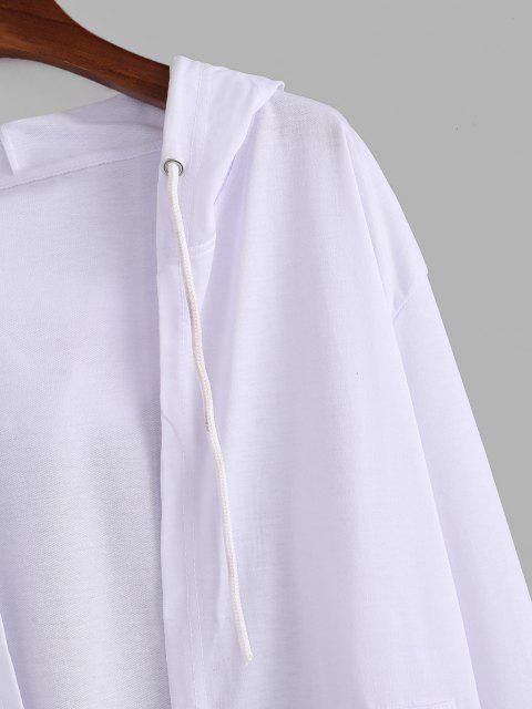 フード付きのフロントポケットの寮ジャケット - 白 L Mobile