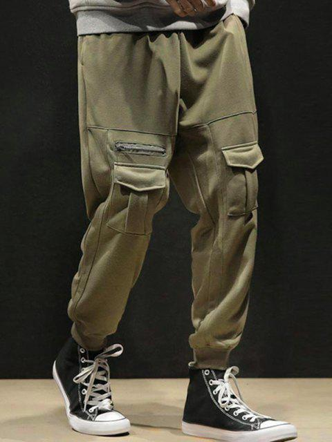 outfit Pure Color Pockets Drawstring Beam Feet Pants - GREEN M Mobile