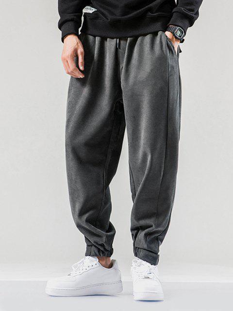 Pantalones Jogger con Cintura Elástica y Bolsillo - Gris Oscuro S Mobile