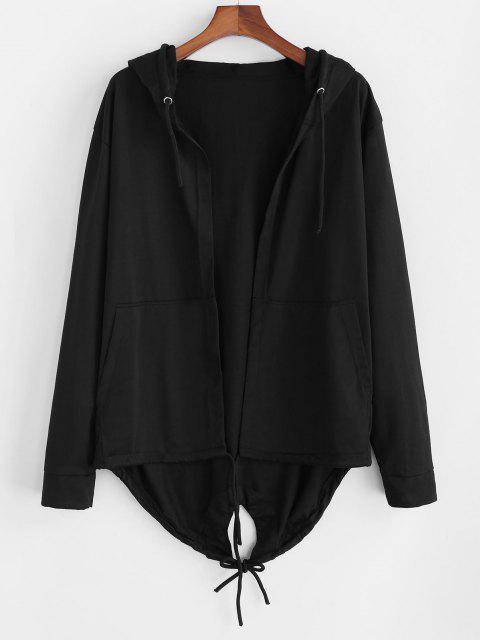 unique Hooded Front Pocket Dovetail Jacket - BLACK 3XL Mobile