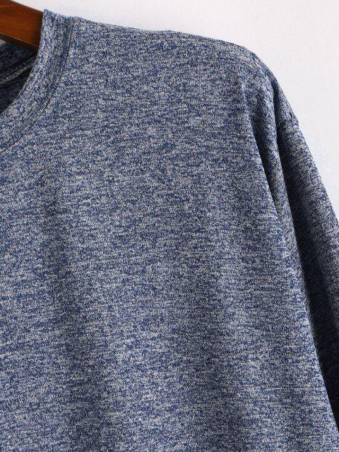 women's Long Sleeve Curved Hem Heathered T-shirt - BLUE S Mobile