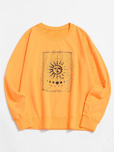 lady Sun and Moon Graphic Crew Neck Sweatshirt - YELLOW 2XL Mobile
