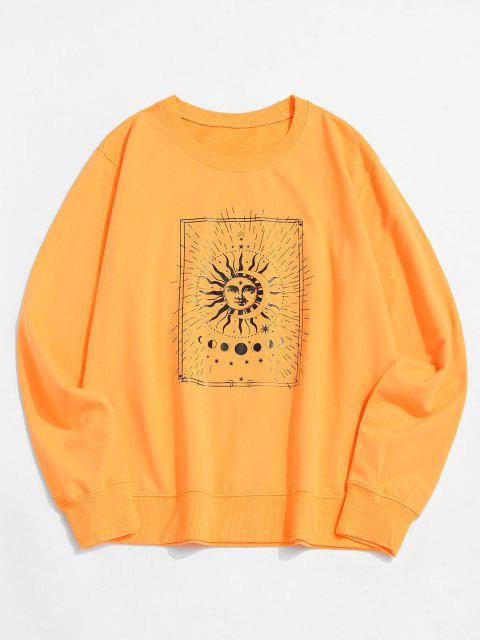 new Sun and Moon Graphic Crew Neck Sweatshirt - YELLOW XL Mobile