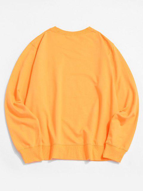 trendy Sun and Moon Graphic Crew Neck Sweatshirt - YELLOW L Mobile