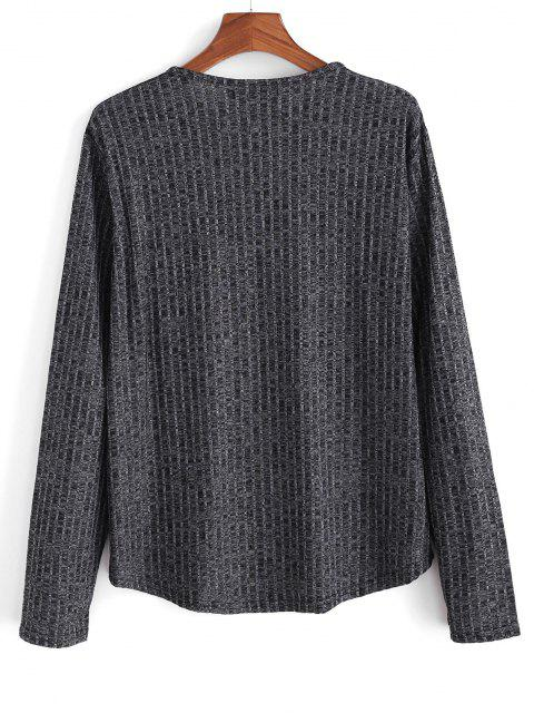 Heathered Ribbed Knit Long Sleeve Top - أسود 2XL Mobile