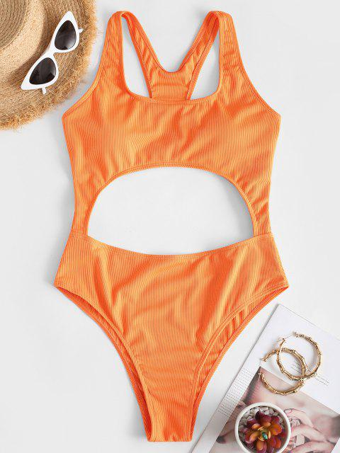 hot ZAFUL Ribbed Cut Out Racerback One-piece Swimsuit - DARK ORANGE S Mobile