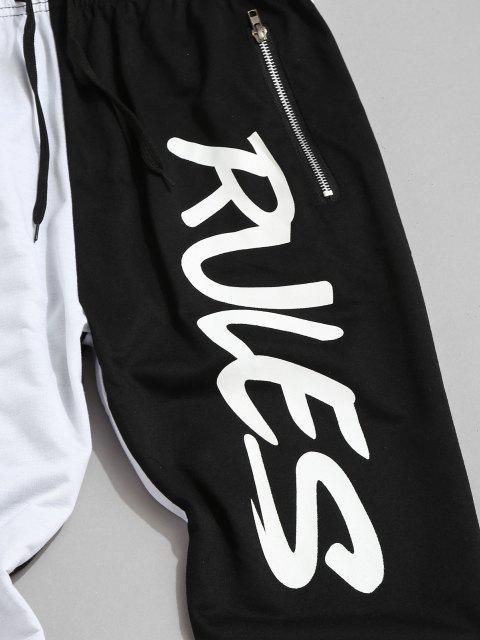 women Colorblock Break Rules Graphic Drawstring Zip Pocket Pants - WHITE M Mobile