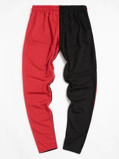 Pantalones con Bolsillo y Estampado de Árbol de Color Bloque - Rojo M Mobile