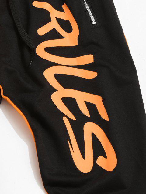 ladies Colorblock Break Rules Graphic Drawstring Zip Pocket Pants - ORANGE S Mobile