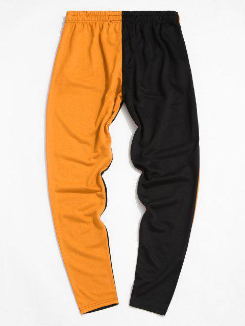 lady Colorblock Break Rules Graphic Drawstring Zip Pocket Pants - ORANGE L Mobile
