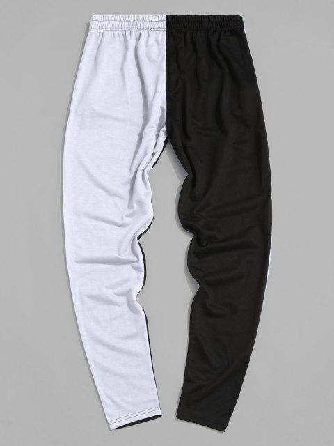 Pantalones con Bolsillo y Estampado de Árbol de Color Bloque - Blanco S Mobile