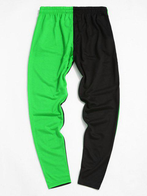 affordable Colorblock Break Rules Graphic Drawstring Zip Pocket Pants - GREEN XS Mobile
