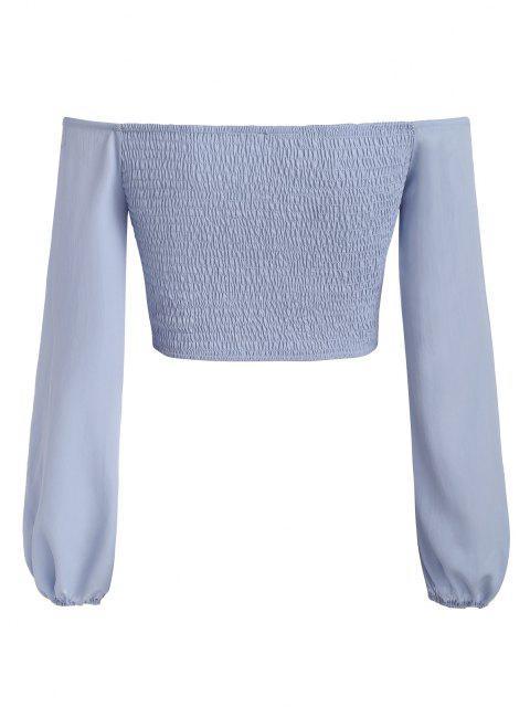 online Smocked Off Shoulder Crop Blouse - BLUE L Mobile
