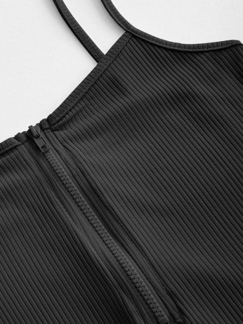 Barboteuse Côtelée à Bretelle à Demi-Zip - Noir S Mobile