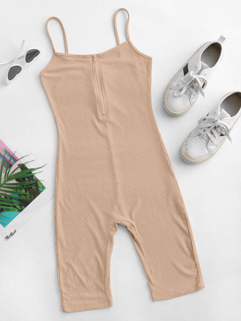 fancy Cami Half Zip Ribbed Unitard Romper - LIGHT COFFEE M Mobile
