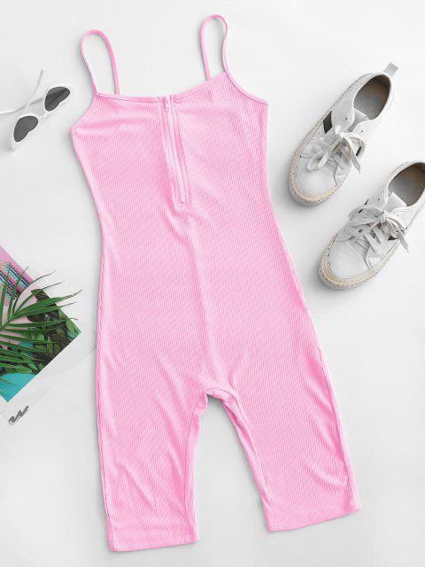 womens Cami Half Zip Ribbed Unitard Romper - LIGHT PINK S Mobile